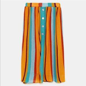 Zara Striped Multi-colored Skirt
